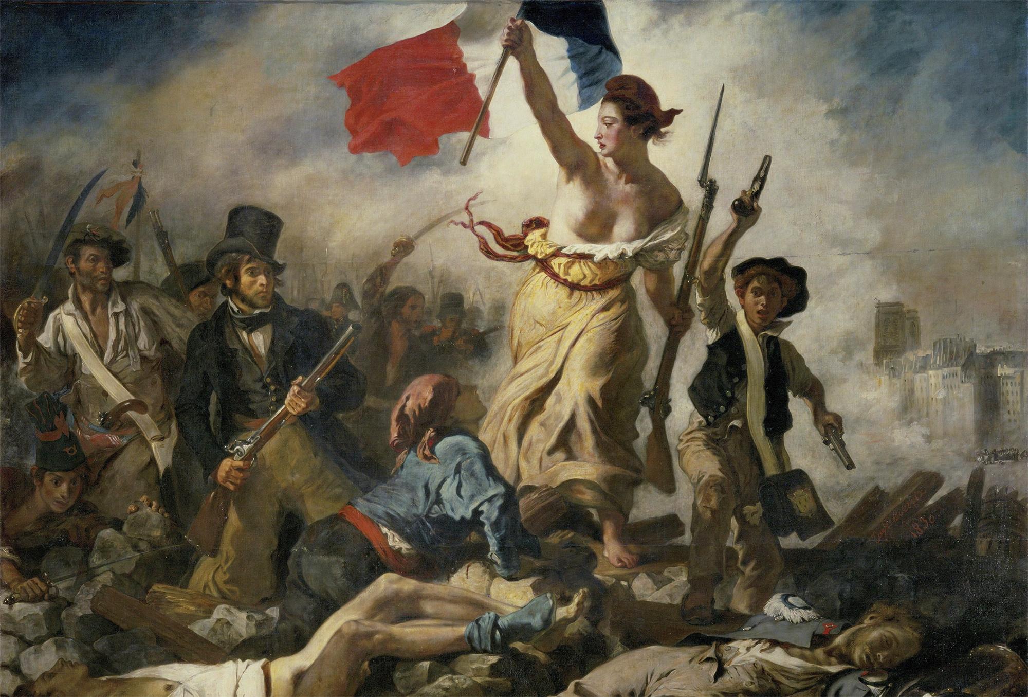 """""""Libertad guiando al pueblo"""" de Eugène Delacroix (1830)"""